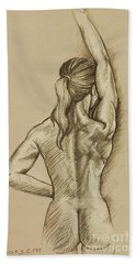 Bath Towel featuring the drawing Woman Sketch by Rob Corsetti
