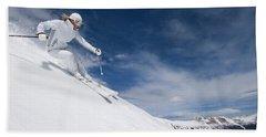 Woman Skiing At Loveland, Colorado Hand Towel