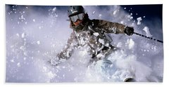 Woman Skiing Powder In The Wasatch Hand Towel