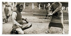 Woman Tennis Star At Bat Hand Towel by Underwood Archives