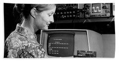 Woman Testing A Microcomputer Hand Towel