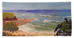 Bath Towel featuring the painting Wombarra Beach by Pamela  Meredith