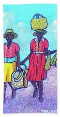 Women On Beach At Grenada Hand Towel