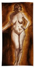 Hand Towel featuring the drawing Women With Curves Are Beautiful 2 by Michael Cross