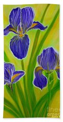 Wonderful Iris Flowers 3 Hand Towel by Oksana Semenchenko
