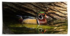 Wood Duck In Wood Bath Towel by Robert Frederick