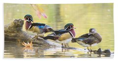 Wood-ducks Panorama Bath Towel by Mircea Costina Photography
