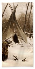 Wood Gatherer Hand Towel by Nancy Griswold