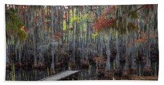 Wooden Dock On Autumn Swamp Hand Towel