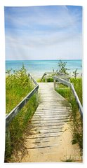 Wooden Walkway Over Dunes At Beach Hand Towel