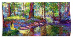 Hand Towel featuring the painting Woodland Rapture by Jane Small