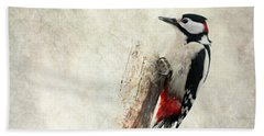 Woodpecker In Nature Hand Towel