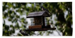 Woodpeckers At Dinner Bath Towel
