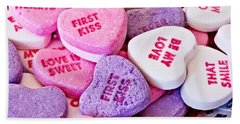 Bath Towel featuring the photograph Valentine Candy Hearts by Vizual Studio