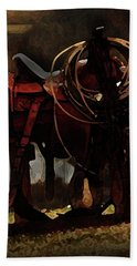 Working Man's Saddle Hand Towel by Kim Henderson