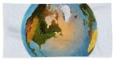 Bath Towel featuring the painting World 3d Globe by Georgi Dimitrov