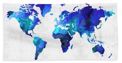 World Map 17 - Blue Art By Sharon Cummings Bath Towel