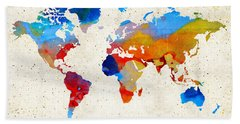 World Map 18 - Colorful Art By Sharon Cummings Bath Towel