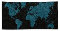 World Map Blue Vintage Fabric On Black Leather Hand Towel