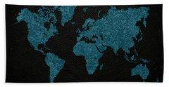 World Map Blue Vintage Fabric On Dark Leather Hand Towel