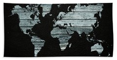 World Map Distressed Wood Beams On Leather Hand Towel