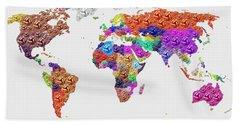 World Map - Soccer Football 2014 Hand Towel
