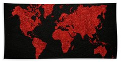 World Map Red Fabric On Dark Leather Hand Towel