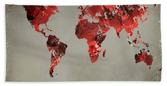 World Map - Watercolor Red-black-gray Bath Towel