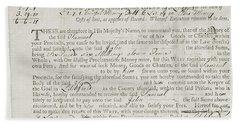 Writ Of Debt, 1762 Bath Towel