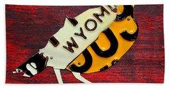 Wyoming Meadowlark Wild Bird Vintage Recycled License Plate Art Hand Towel