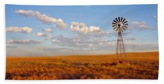 Hand Towel featuring the photograph Windmill At Sunset by Amanda Smith