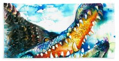 Xxl Format Crocodile Watercolor Hand Towel