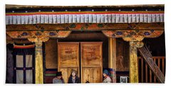 Yak Butter Tea Break At The Potala Palace Hand Towel by Joan Carroll