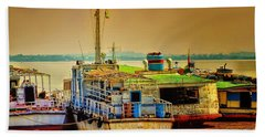 Hand Towel featuring the photograph Yangon Harbour by Wallaroo Images