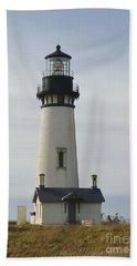 Yaquina Bay Lighthouse Hand Towel by Susan Garren