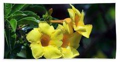 Yellow Allamanda Hand Towel by Teresa Zieba