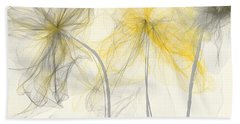 Yellow And Gray Flowers Impressionist Bath Towel