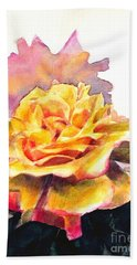 Hand Towel featuring the painting Yellow Rose Fringed In Red by Greta Corens