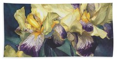 Bath Towel featuring the painting Yellow And Purple Streaked Irises by Greta Corens