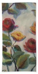 Yellow And Red Roses  Hand Towel