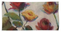Yellow And Red Roses  Bath Towel by Mary Wolf