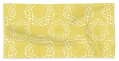 Yellow And White Geometric Floral  Hand Towel