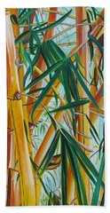 Hand Towel featuring the painting Yellow Bamboo by Marionette Taboniar
