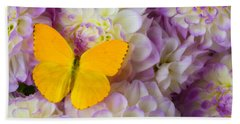 Yellow Butterfly On Dahlias Hand Towel