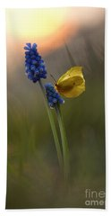 Yellow Butterfly On Grape Hyacinths Bath Towel