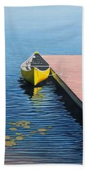 Yellow Canoe Hand Towel by Kenneth M  Kirsch