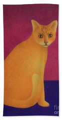 Hand Towel featuring the painting Yellow Cat by Pamela Clements