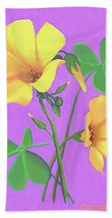 Hand Towel featuring the painting Yellow Clover Flowers by Sophia Schmierer