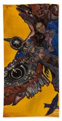 Yellow Crow Hand Towel by Emily McLaughlin