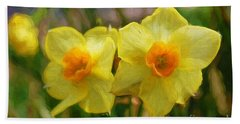 Yellow Daffodil Painting Hand Towel